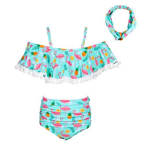 Beinou Girls Badeanzug 2 Tiliger Bikini Tankini Sets Bademode Rüschen Beachwear mit Stirnband