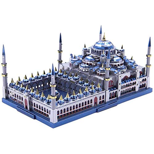 Statue Sculpture Ornament 3D Metal Puzzle Blue Mosque Building Model DIY 3D Laser Cutting Jigsaw Puzzle Model Nano Puzzle Toys for Adult Gift