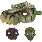 Kicko Realistic Dinosaur Face Mask - 1 Piece Assorted - 7.5 x 6.5 x 6 Inches - Dino Costumes for Kids, Dino Birthdays, Pretend Play, Props, Outdoor Play, Hand Puppets, and More
