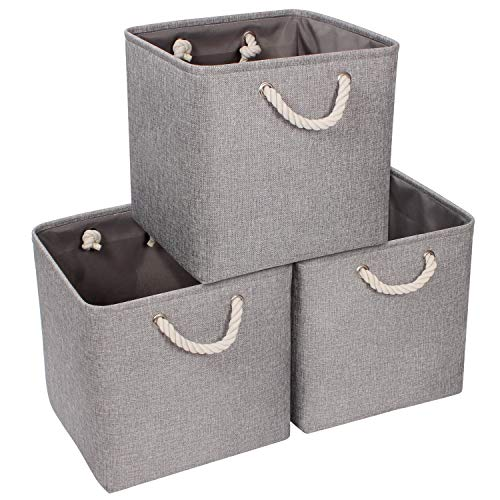 Syeeiex Fabric Cube Storage Basket, Fabric Square Storage Bin for Organizing Home Office, Foldable Cube Storage Box with Handles, Grey, 3 Pack