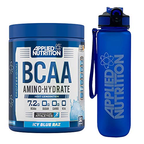 Applied Nutrition Bundle: BCAA Amino Hydrate Powder 450g + Lifestyle Water Bottle 1000ml | Branched Chain Amino Acids Supplement with Electrolytes, B Vits, Intra Workout & Recovery (ICY Blue Raz)
