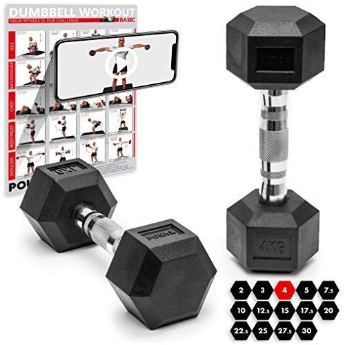 POWRX Hexagon-Hanteln (Paar) inkl. Workout | 2-32,5 kg | gummiert | rutschsichere, verchromte Griffe | Kurzhantel-Set | Dumbbell-Set (2 x 4 kg)