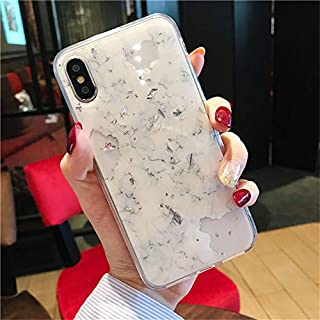 AcasZ 高級ゴールド箔ブリンブリン大理石電話ケース 4s × カバーソフト Iphone XR XS 最大 7 8 6 6 s プラス保護ケース,白,For iPhone 7