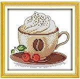 QGHMV DIY Kits de Punto de Cruz Estampado para Principiantes 11ct Café Delicioso Bordado de Punto de Aguja Printed Kit de Punto de Cruz para decoración del hogar 16x20 Inch