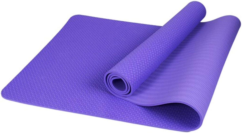 YUN HAI Tragbare Yogamatte 6 mm Dicke Trainingsmatte mit Tragegurt - Best Comfort auf Hüften, Knien, Wirbelsule und Gelenken für P90X, Pilates, Kraft- und Stretch-Training (Farbe   lila)
