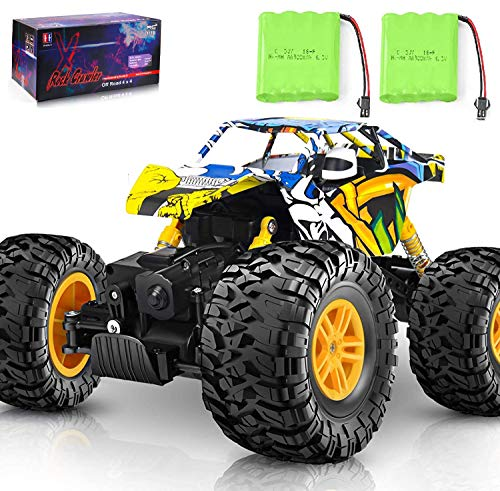 DOUBLE E Remote Control Car,Off Road RC Crawler Unique Graffti 4WD 2 Motors 2.4Ghz Remote Control Monster Truck with 2 Batteries Climbing RC Car Toy for Boys Teens