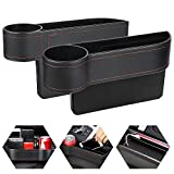 REKOBON Car Seat Gap Filler Pack of 2, Car Seat Gap Storage Box with Cup Holder, PU Leather Car Organizer Front Seat Filler for Drive and Passenger Side