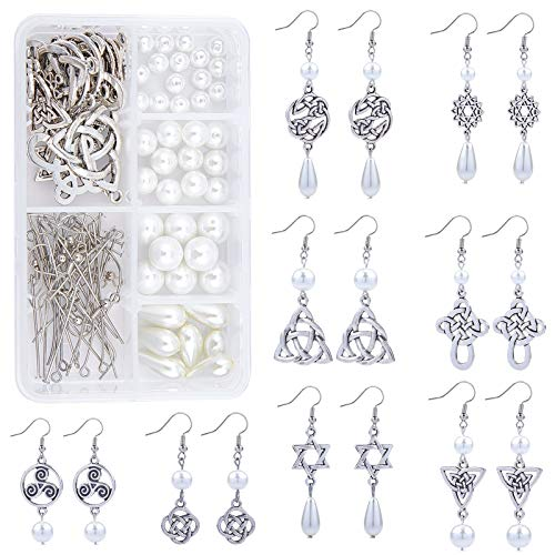 SUNNYCLUE 1 Box DIY 8 Pairs Antique Silver Celtic Knot Earrings Pearl Dangle Earrings Jewelry Making Starter Kit with Instruction Jewelry Making Supplies for Girls Women