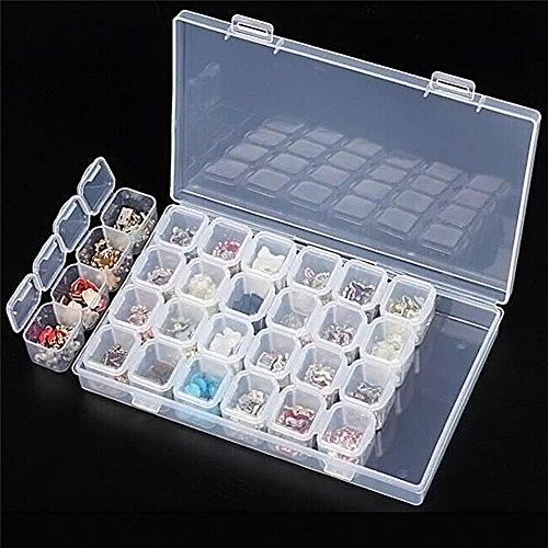 Ruier-hui 28 Grid Boîte de Rangement Multi-fonctions Removable Clear Plastic Organiser Nail Art Rhinestone Jewelry Diamonds Earrings Beads Necklace Storage Box