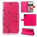betterfon | LG K42 Hülle Flower Hülle Handytasche Schutzhülle Blumen Klapptasche Handyhülle Handy Schale für LG K42 Pink