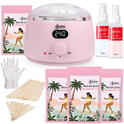 Home Waxing Kit, Ajoura Digital Wax Warmer Kit for Brazilian Bikini Coarse Hair Removal with 14oz Hard Wax Beads for Eyebrow, Legs, Armpit, Face, Pre & After Wax Spray