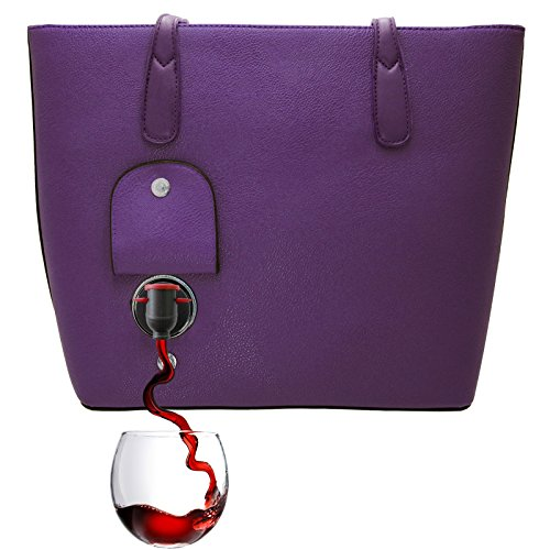 PortoVino Wine Purse (Purple) - Fashionable purse with Hidden, Insulated Compartment, Holds 2 bottles of Wine! / Great Gift! / Happiness Guaranteed!