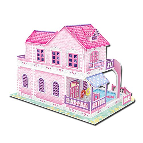 fuchsiaan Mini casa de muñecas de papel 3D, casa de ensueño, rompecabezas de muebles de bricolaje, modelo de construcción para modelo de exhibición, adorno de escritorio, regalo de cumpleaños A