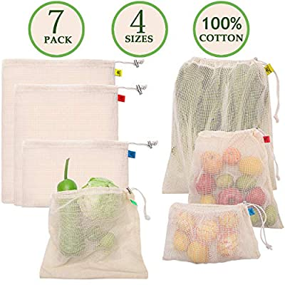 Reusable Produce Bags, Cotton Produce Bags with Drawstring Reusable Mesh Produce Bags for Shopping & Storage, Washable, Biodegradable, Tare Weight on Color Tag(7 Pack)