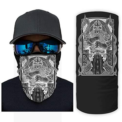 CCMugshop Bandana para la cara, estilo vikingo, Oin, guerrero, dos dragones, estampado deportivo, talla única, color blanco