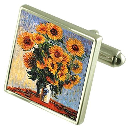 Select Gifts Monet Sonnenblumen malen Sterling Silber Manschettenknöpfe graviert Box Optional