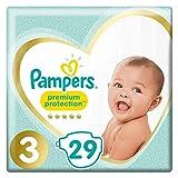 Pampers Couches Premium Protection Taille 3 (5-9 kg) notre N°1 pour la protection des peaux sensibles, Aide à protéger le ventre délicat de votre nouveau-né, 29 Couches (Pack Small)