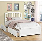 Modern-Depo Twin Bed with 2 Storage Drawers Wood Platform Bed Frame, Captains Bed with Headboard for Kids Teens and Adults, Wood Slat Support, White