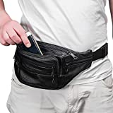 Fanny Pack Leather waist bag , 7 Pockets waist pack.Suitable for outdoor mountaineering, travel, camping, cycling, running, etc.(Black)