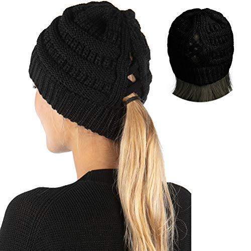Dan&Dre Czapka z dzianiny, damska, robiona na drutach, nieuporządkowane bułki, koński ogon, czapka zimowa, ciepła rozciągliwa, ciepła na jesień i zimę, do uprawiania sportu w czasie wolnym dla kobiet