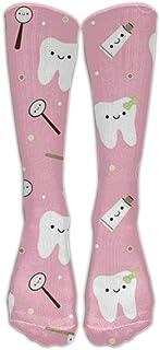 La mayoría del fabricante de moda Pasta de dientes de tela dental rosada Medias clásicas Calcetines largos de tubo Calcetines deportivos de alta calidad Calcetines de fútbol