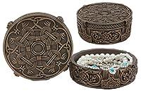 Ebros Bronze Colored Resin Norse Old Gods Viking Knotwork Thor Hammer Mjolnir Small Jewelry Storage Round Box Figurine 4.75 Inch Diameter Stash Container Box Keepsake