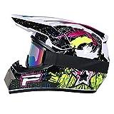 R&P Casco de motocross, para adultos, para exteriores, casco de bicicleta de montaña, de cara completa, para motocross, todoterreno, motocross, motociclismo (Negro brillante-blanco,M)