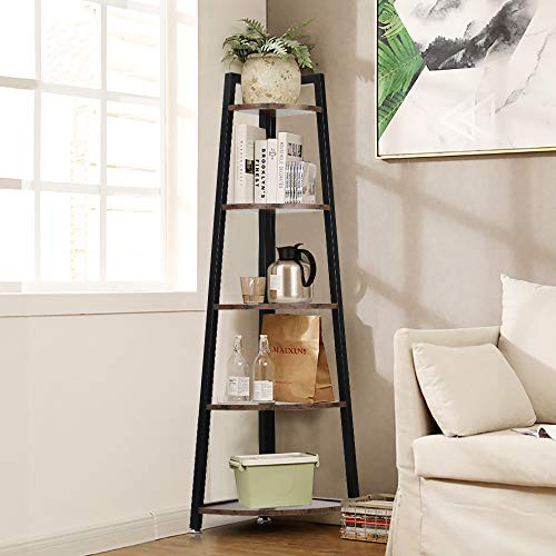 5 Tier Corner Shelf, Rustic Corner Bookcase Storage Rack Plant Stand, Ladder Bookcase with Metal Frame, Ideal for Living Room, Home Office, Kitchen, Rustic Brown