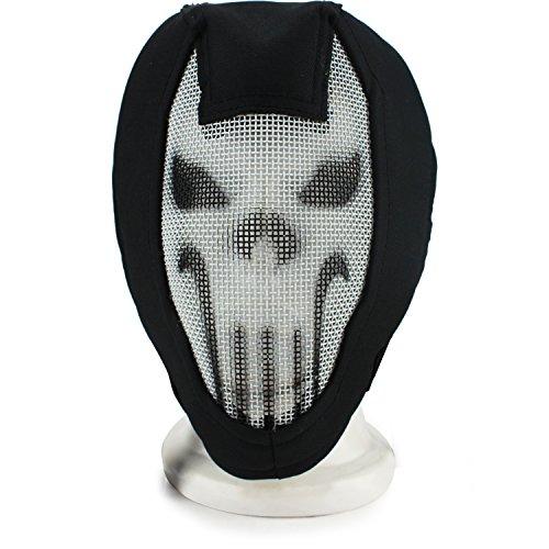 XUE Airsoft Maske Skull Full Face Mesh Gesichtsmaske Taktische Paintball Schutz Masken für Fechten Jagd Halloween (Schwarz Skull)