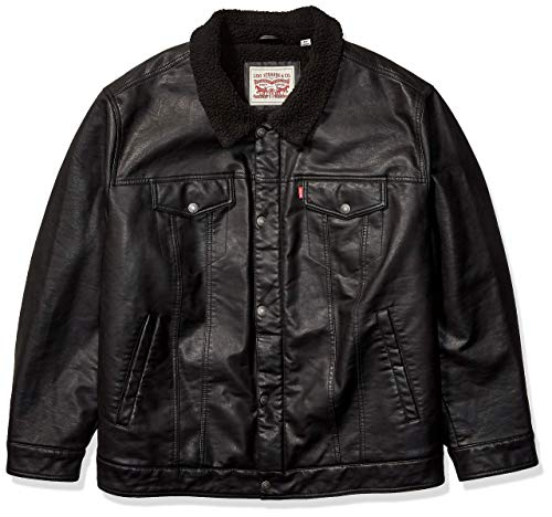 Levi's Men's Big & Tall Faux Leather Sherpa Lined Trucker Jacket (Regular and Big Sizes), Black, 2X-Large Tall