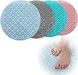 NJYBF - Tappetino da bagno rotondo, antiscivolo, 55 cm, in PVC, antiscivolo, con ventose, tappetino da doccia, tappetino per il bagno (blu)