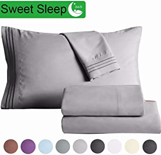 """SAKIAO Queen Size Bed Sheets Set - Brushed Microfiber 1800 Thread Count Percale - 16"""" Deep Pocket Egyptian Sheets Beautiful Breathable Wrinkle Free & Fade Resistant - 4 Piece (Grey,Queen)"""