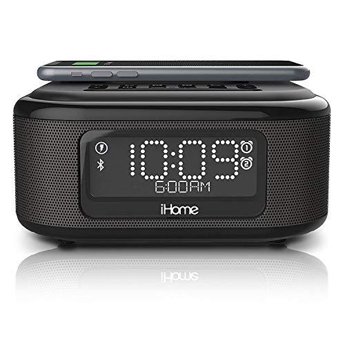 iHome iBTW23 Dual-Wecker mit Bluetooth-Funktion und Freisprecheinrichtung - Kabelloses Laden von Smartphones mit Qi-Technologie - Zusätzlicher USB-Anschluss