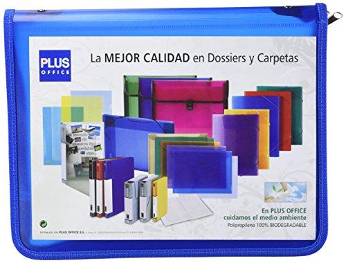 Plus Office ZA-401BL - Carpeta con cremallera, A4, azul