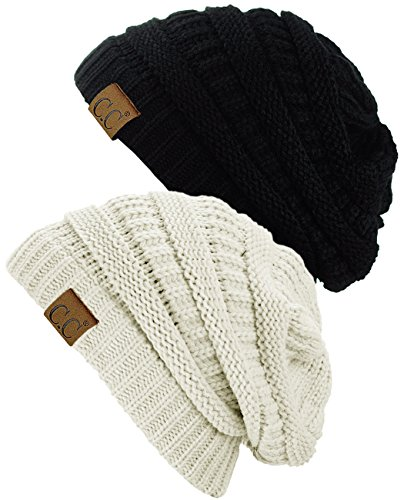 C.C Trendy Warm Chunky Soft Stretch Cable Knit Beanie Skully, 2 Pack Black/Ivory