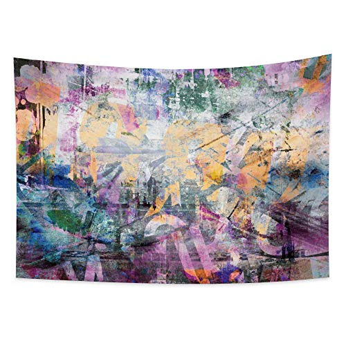 Lfeey Street Art Tapestry Cool Grunge Urban Splatter Graffiti Wall Hanging 80 90s Hip Hop Party Background Creative Wall Decor Polyester Blanket Poster for Boy Men Bedroom Living Room Dorm 59.1'x39.4'