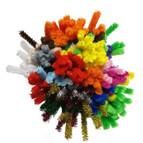 Bastelbär Pfeifenputzer bunt zum Basteln - Pfeifenreiniger- 200 Pfeiffenreiniger Bastel Chenilledraht inkl. 5 Glitzerfarben