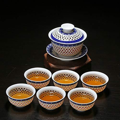 Juegos de té Juego De Té De Kung Fu De Panal Hueco, Vajilla De Porcelana Azul Y Blanca, Taza De Té De Vidrio De Cerámica, Tetera, Colador Gaiwan, Taza Justa