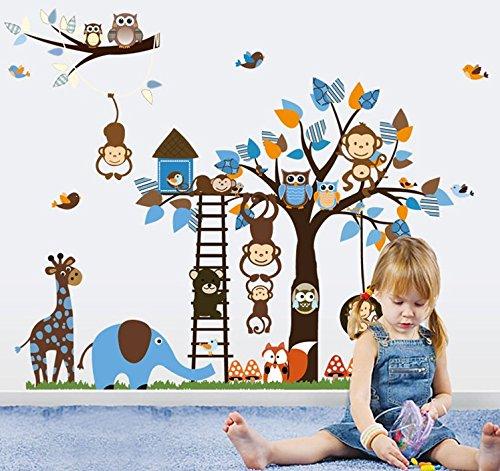 Colorfulworld ® xXXL! jungle-zoo: girafe, singe, éléphant &graz design sticker mural décoratif pour chambre d'enfant motif cadeau x2pcs 60 x 90 cm