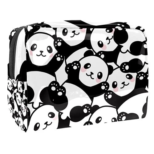 Portátil Bolsa Cosmetica Lindo bebé Panda Bolsa de Neceser Bolso de Organizador Maquillaje en Viaje Almacenamiento de Maquillaje Cosmético Neceseres de Viaje 18.5x7.5x13cm