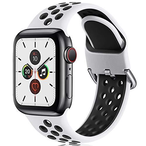CeMiKa Correa Compatible con Apple Watch Correa 38mm 40mm 42mm 44mm, Suave Silicona Deporte Correa con Compatible con Apple Watch SE/iWatch Series 6 5 4 3 2 1, 42mm/44mm-M/L, Blanco/Negro