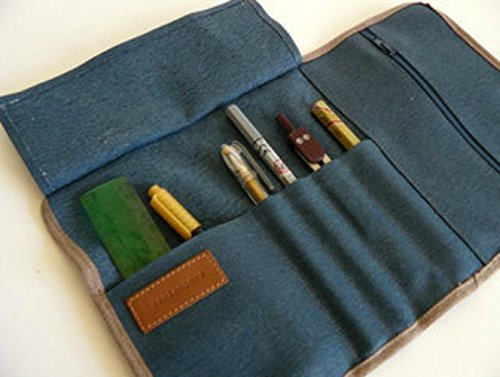 Blue Roll up pencil case - aseismanos accessories handmade in Spain - Waxed/resined canvas blue roll up // adults pencil case/gift for him/ gift for her.