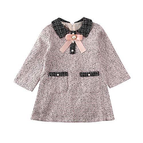 Chloefairy Kleinkinder Baby Mädchen Tunika Kleid Langarm Prinzessin Kleid Mädchen Rock A Linie Lang Elegant Festlich Weihnachten Hochzeit Outfit Schwarz Weiß Pink (Pink, 90)