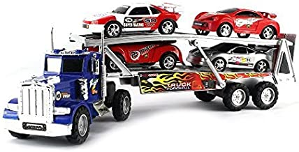 VT Rush Power Max Transporter Semi Trailer Toy Truck Ready To Run w/ 4 Extra Toy Cars (Colors May Vary) by VT