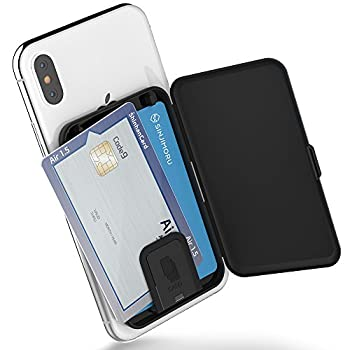 Sinjimoru Phone Card Holder Stick-on Phone Card Case Phone Wallet Credit Card Holder on Back of Phone with up to 3 Cards and Cash Storage Card Zip Black.