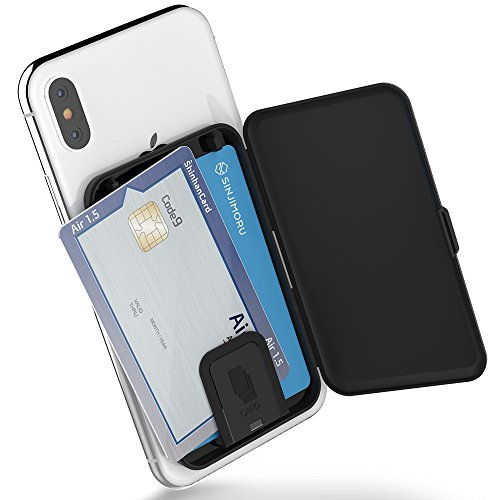 Sinjimoru Phone Card Holder, Stick-on Phone Card Case/Phone Wallet/Credit Card Holder on Back of Phone for up to 3 Cards and Cash Card Zip, Black.