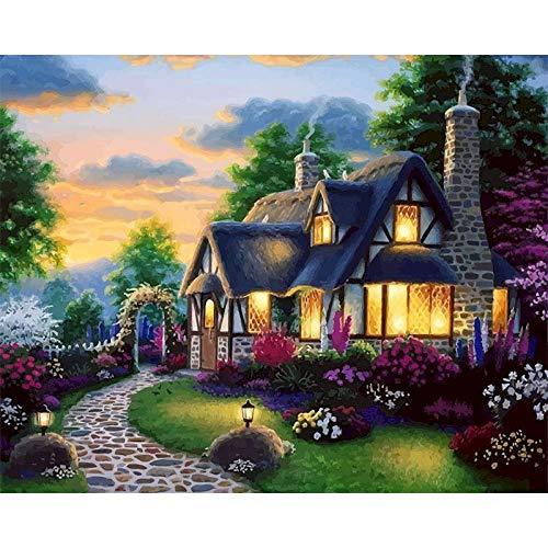 DIY pintura por números paisaje casa pintura al óleo para adultos en lienzo dibujo para colorear por número decoración del hogar A12 50x70cm