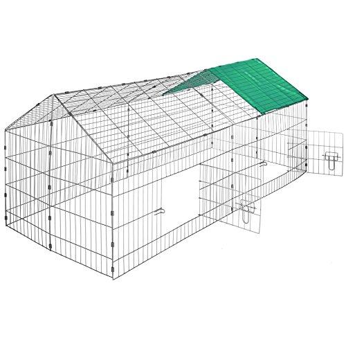 TecTake 800393 - Kaninchen Freilaufgehege mit Sonnenschutz, 180 x 75 x 75 cm, Schnelle Montage - Diverse Farben (Dach grün | Nr. 402420)