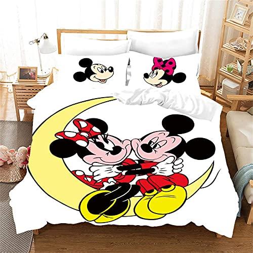 LKFFHAVD Disney Mickey Mouse - Juego de cama (funda nórdica y funda de almohada, 100% microfibra, para adultos y niños (140 x 210 cm, 11 cm)