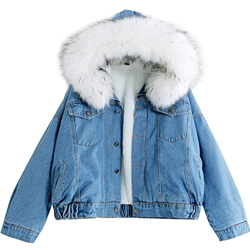 SALUCIA Damen Winterjacke Warm Jeansjacke Fellkapuze Kurz Jacke mit Teddyfutter Herbst Winter Übergangsjacke Outwear(Weiß, M)